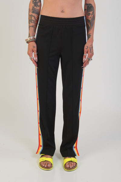 signature 8 navy button up track pants with rainbow stripe