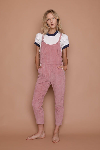 camp collection dusty pink corduroy comfy overalls