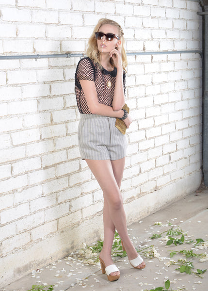 Creamy Grey Striped Woven Shorts