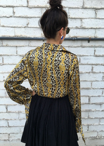 Vintage Leopard Chain Silk Button Up