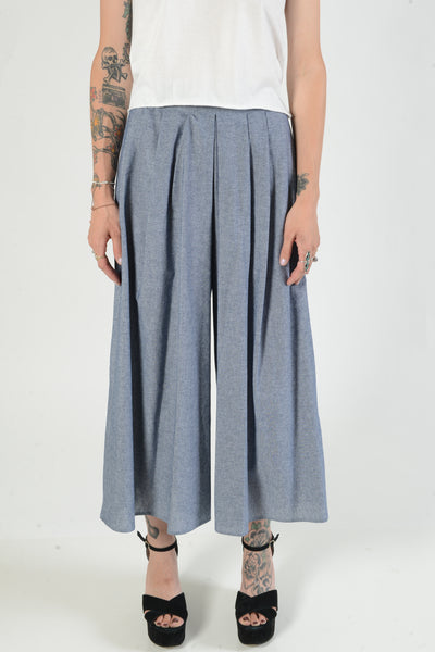 Blue Cotton Crop Pants