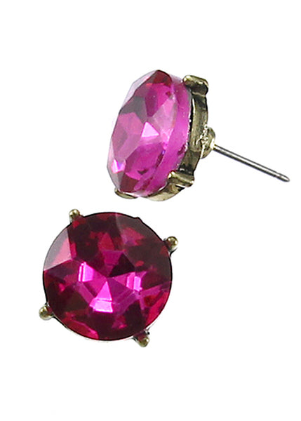Crystal Glass Stud Earrings, Multiple Colors