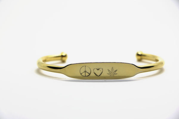 goldish stamped cuff bracelet(s)