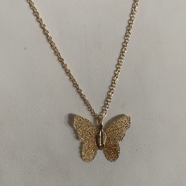 gold mesh butterfly necklace