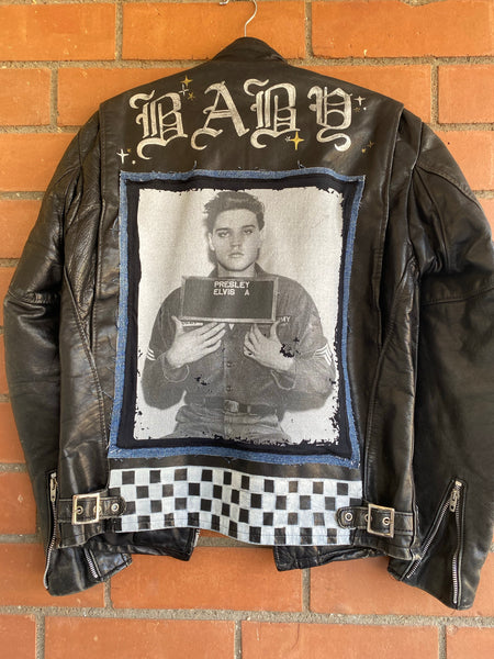 burnt custom painted schott black leather denim and elvis patch riding jacket