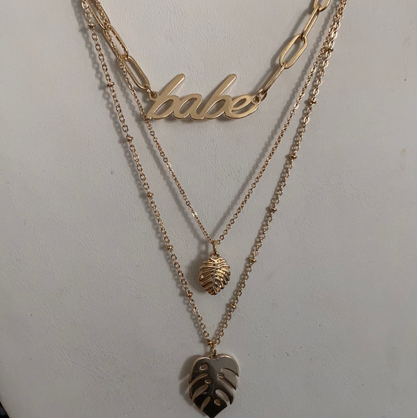 plant babe gold layered chain necklace