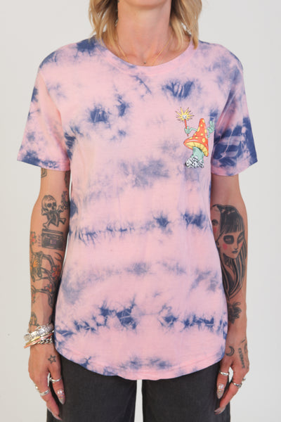 dikotomy pink and blue tie dye mushroom tee