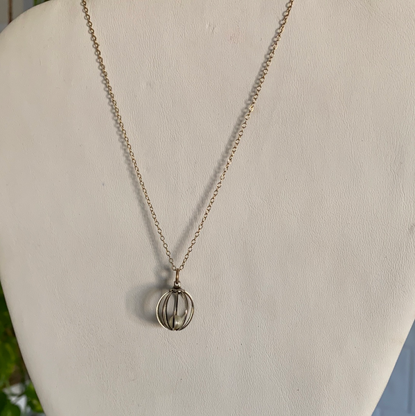 silver circle pearl gold chain necklace