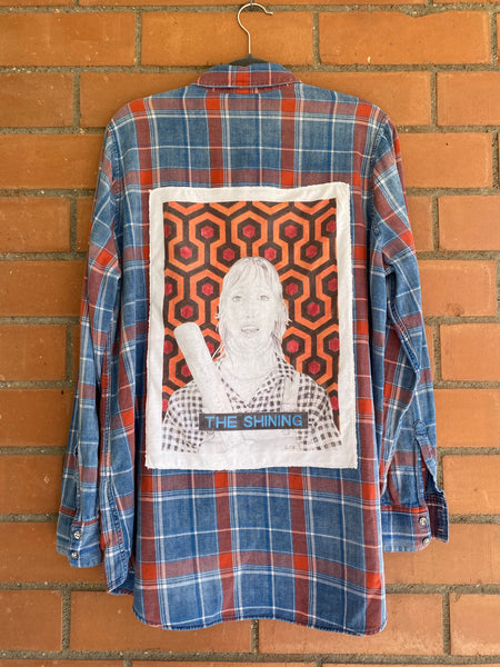 burnt bb custom blue plaid shining patch long sleeve