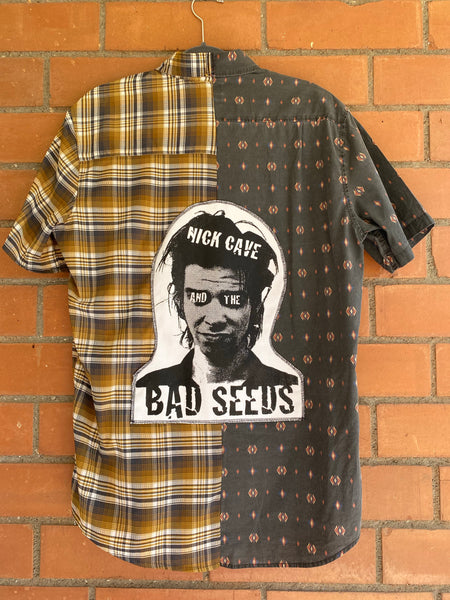 burnt bb custom half n half plaid nick cave patch short sleeve