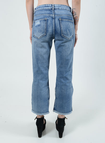 Cropped Flared Distressed Denim