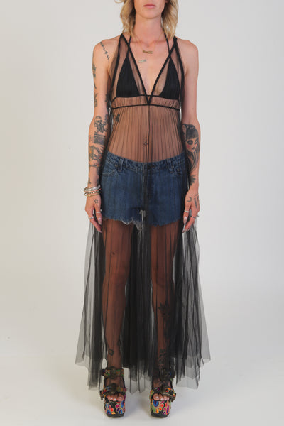 kiki riki black sheer princess pleated maxi dress