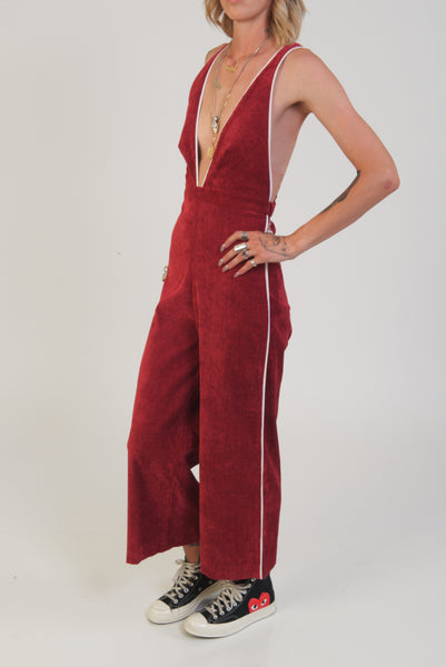 camp collection maroon corduroy playsuit