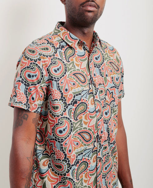 banks journal paze print short sleeve button up