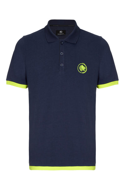 WEEKENDER PIQUE CONTRAST POLO SHIRT - NAVY / LIME