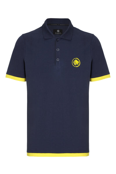 WEEKENDER PIQUE CONTRAST POLO SHIRT - NAVY / YELLOW