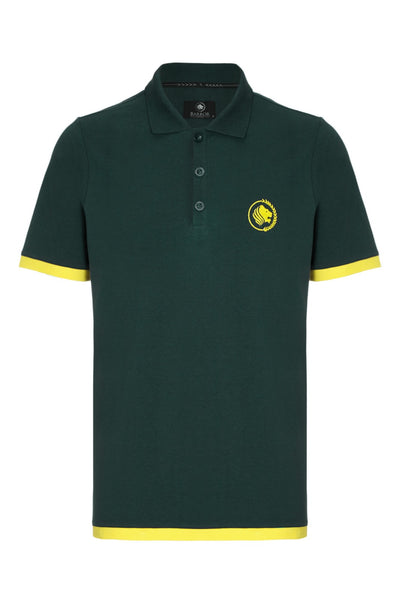 WEEKENDER PIQUE CONTRAST POLO SHIRT - RACING GREEN / YELLOW