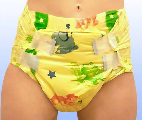 "<div style=""display: none;"">5380</div> ""MY DIAPER."" Yellow animal print, adult nappies (diapers)"