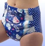 "<div style=""display: none;"">5420</div> ""MY DIAPER."" Dark blue unicorn print, adult nappies (diapers)"