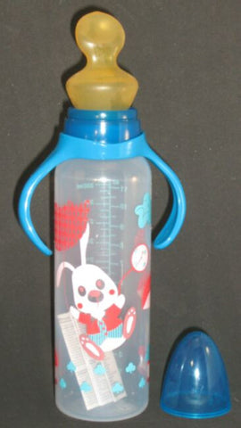 "<div style=""display: none;"">6185</div> blue top & pink rabbit, large size 12oz bottle with large nuk teat"