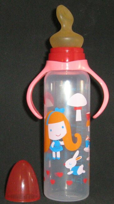 "<div style=""display: none;"">6190</div> red/pink top & goldielocks, large size 12oz bottle with large nuk teat"