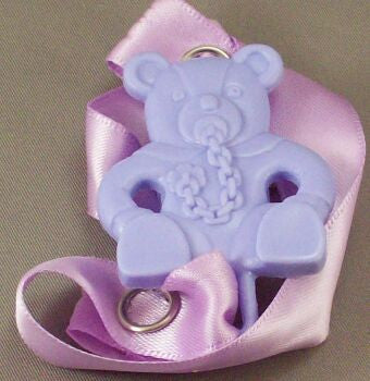 "<div style=""display: none;"">8340</div> Purple Teddy with dummy / Mauve Ribbon Dummy Clip"