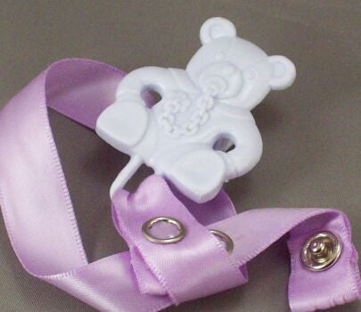"<div style=""display: none;"">8342</div> Mauve Teddy with dummy / Mauve Ribbon Dummy Clip"