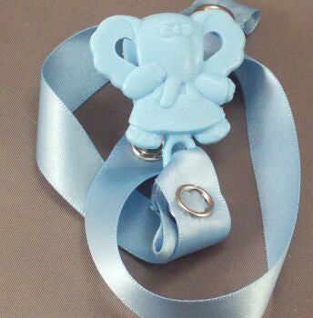 "<div style=""display: none;"">8366</div> Blue Elephant / Blue Ribbon Dummy Clip"