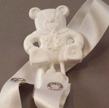 "<div style=""display: none;"">8358</div> White ""Teddy with dummy"" / Longer Ribbon Dummy Clip"