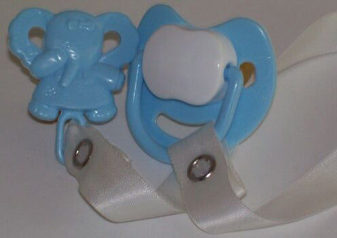 "<div style=""display: none;"">8456</div> Blue/White Dummy Pacifier & Blue elephant Clip"
