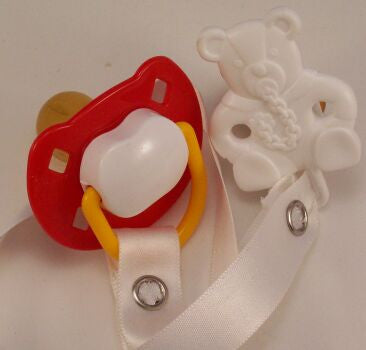 "<div style=""display: none;"">8464</div> Red & white Dummy Pacifier & white Teddy Bear Clip"