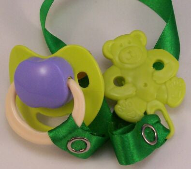 "<div style=""display: none;"">8472</div> green &-purple dummy Pacifier & green  Teddy bear Clip"