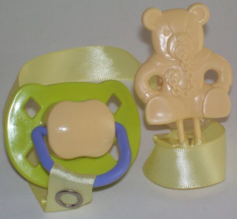 "<div style=""display: none;"">8474</div> green &-cream dummy Pacifier & cream Teddy bear Clip"