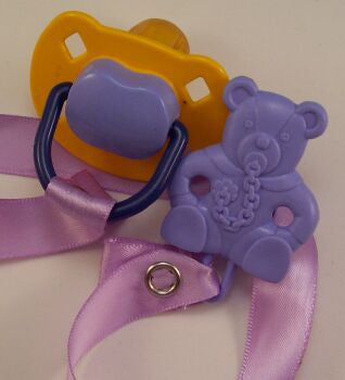 "<div style=""display: none;"">8476</div> yellow &-purple-dummy Pacifier &  purple Teddy bear Clip"