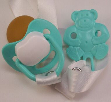 "<div style=""display: none;"">8478</div> Turquoise & White Dummy Pacifier & Turquoise Teddy Bear Clip"