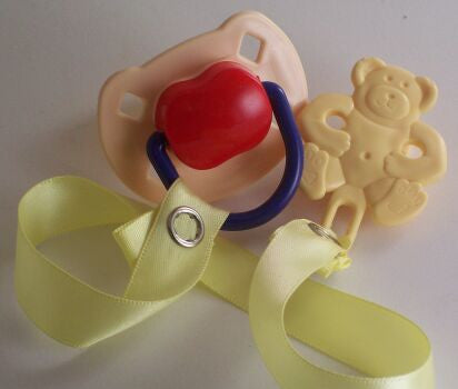 "<div style=""display: none;"">8480</div> Cream & Red Dummy Pacifier & Cream Teddy Bear Clip"