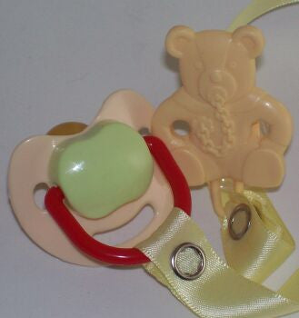 "<div style=""display: none;"">8482</div> Cream & Green Dummy Pacifier & Cream Teddy Bear Clip"