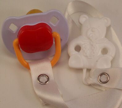 "<div style=""display: none;"">8484</div> Mauve & Red Dummy Pacifier & White Teddy Bear Clip"