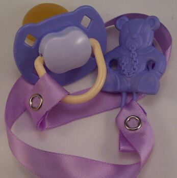 "<div style=""display: none;"">8486</div> Purple & Mauve Dummy Pacifier & Purple Teddy Bear Clip"