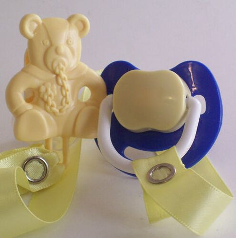 "<div style=""display: none;"">8490</div> Dark blue & Cream Dummy Pacifier & Cream Teddy Bear Clip"