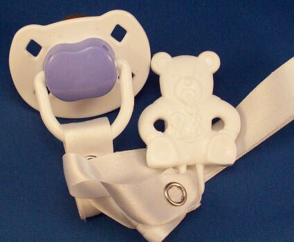 "<div style=""display: none;"">8494</div> White & Purple Dummy Pacifier & White Teddy Bear Clip"