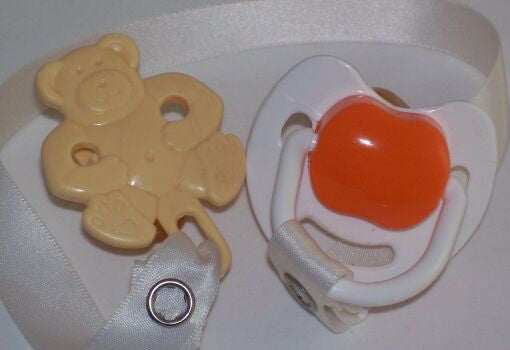 "<div style=""display: none;"">8496</div> White & Orange Dummy Pacifier & Cream Teddy Bear Clip"