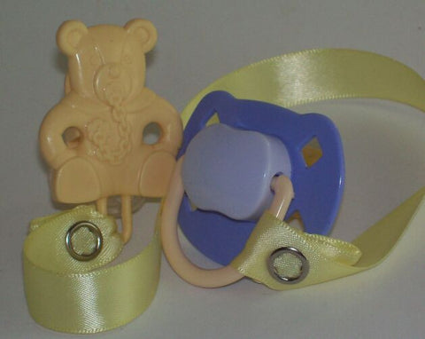 "<div style=""display: none;"">8488</div> Purple & Mauve Dummy Pacifier & Cream Teddy Bear Clip"