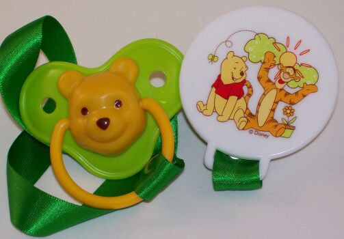 "<div style=""display: none;"">8572</div> green 3D winnie dummy Pacifier & Clip disney  NUK"
