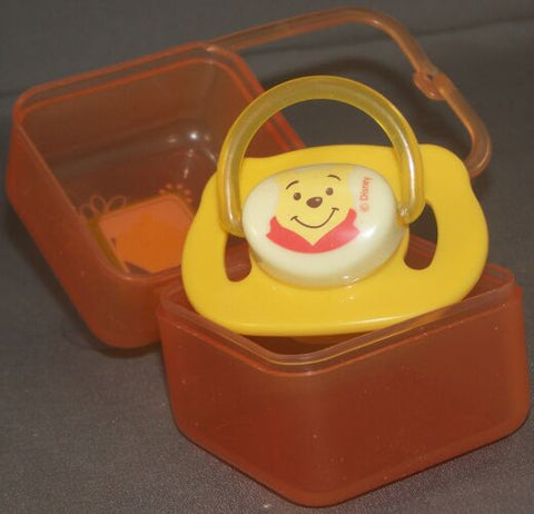 "<div style=""display: none;"">9102</div> Yellow winnie pooh dummy Pacifier  with its own container"