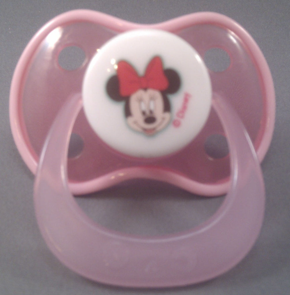 "<div style=""display: none;"">9248</div> dark pink minnie mouse Disney Pacifier with light pink trim"