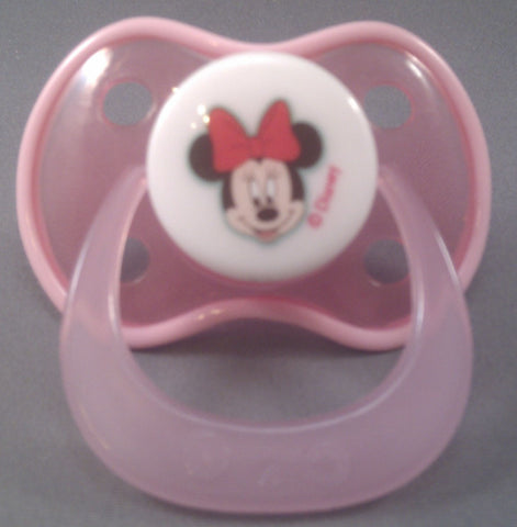 "<div style=""display: none;"">9246</div> pink minnie mouse Disney Pacifier with darker pink trim"