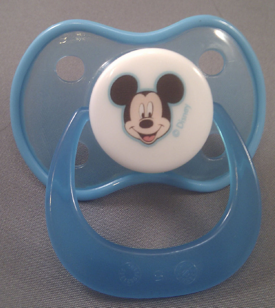 "<div style=""display: none;"">9250</div> Blue Mickie mouse Disney Pacifier with dark blue trim"