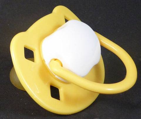 "<div style=""display: none;"">9460</div> yellow & white Spanish style dummy with Nuk teat"