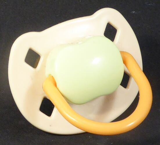 "<div style=""display: none;"">9464</div> Cream & green & peach Spanish style dummy with Nuk teat"